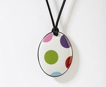 Feest Collectie ovaal porseleinen ketting hanger