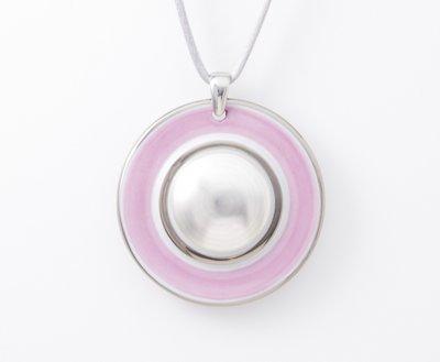 Maan Collectie roze en zilver rond porseleinen ketting hanger