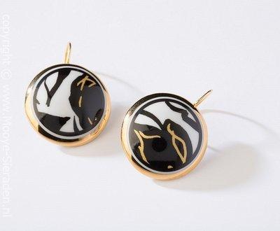 Ontmoeting Collectie goud rond porseleinen oorhangers