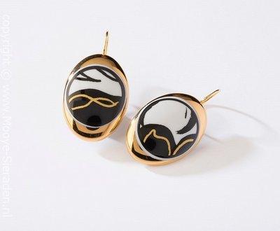Ontmoeting Collectie goud ovaal porseleinen oorhangers