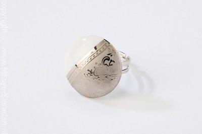 Ilse Collectie platina rond porseleinen ring