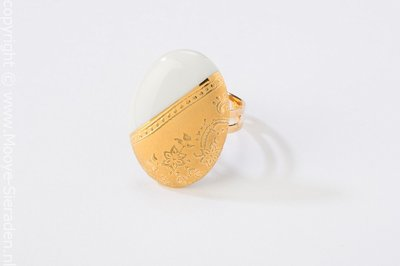 Ilse Collectie goud ovaal porseleinen ring