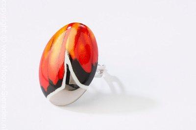 Vlinder Collectie rood en platina ovaal porseleinen ring