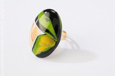 Vlinder Collectie groen en goud ovaal porseleinen ring