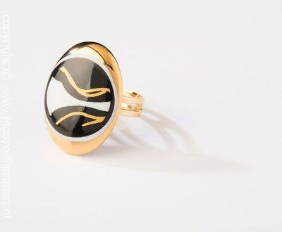 Ontmoeting Collectie goud ovaal porseleinen ring