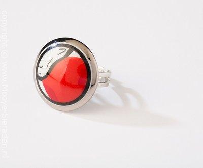 Durf Collectie platina rond porseleinen ring