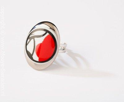 Durf Collectie platina ovaal porseleinen ring