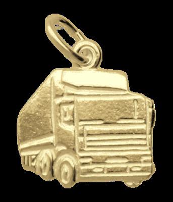 Gouden Vrachtwagen klein ketting hanger
