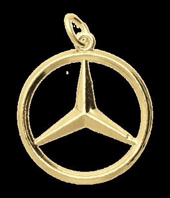Gouden Mercedes ster groot ketting hanger