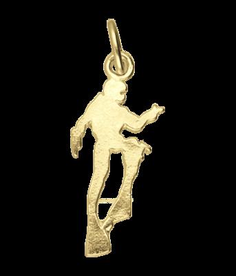 Gouden Duiker plat ketting hanger