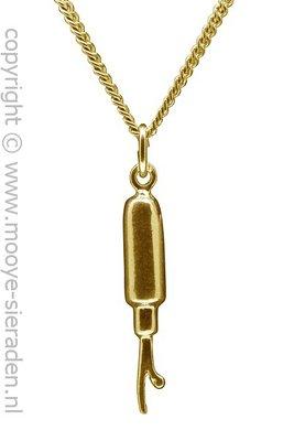 Gouden Knoopsgaten mes ketting hanger