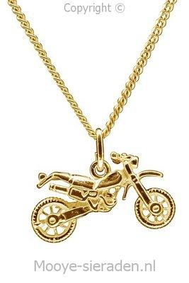 Gouden Crossmotor ketting hanger