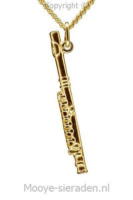Gouden Dwarsfluit ketting hanger