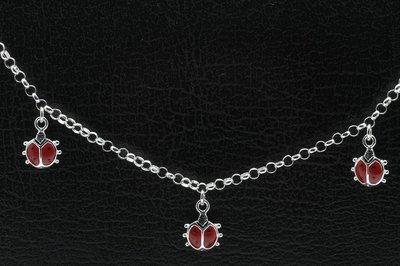 Zilveren lieveheersbeestjes rood Kinder armband - 14 cm