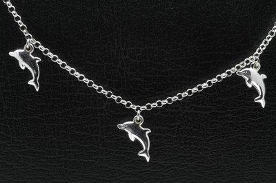 Zilveren dolfijnen zilver Kinder armband - 14 cm
