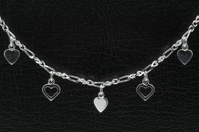 Zilveren 5 hartjes zilver Kinder armband - 14 cm