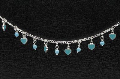 Zilveren hartjes turquoise Tiener armband - 16 cm
