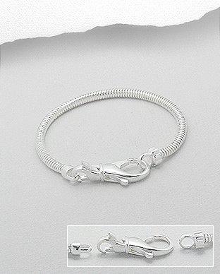 Zilveren bead - slangen armband 22,5 cm