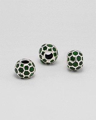 Zilveren emaille bead - deco groen
