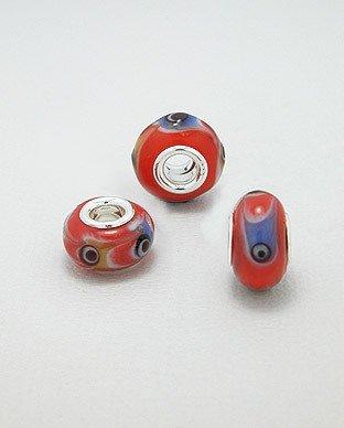Zilveren glas bead - deco rood met oog