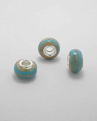 Zilveren glas bead - deco blauwe band