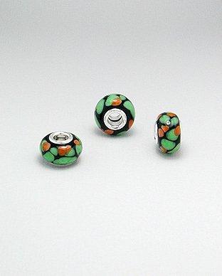 Zilveren glas bead - deco zwart/rood/groen
