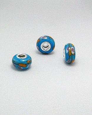 Zilveren glas bead - deco blauw bewerkt