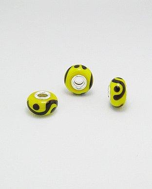 Zilveren glas bead - deco geel/zwart