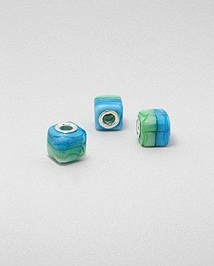 Zilveren glas bead - deco vierkant blauw