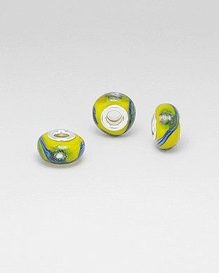 Zilveren glas bead - deco geel bewerkt