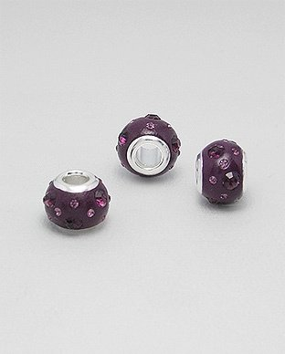 Zilveren glaskristal bead - deco ametist