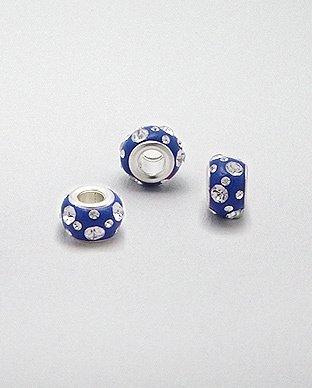 Zilveren glaskristal bead - deco blauw