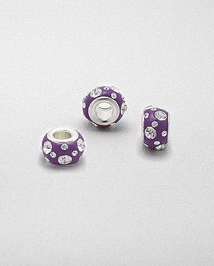 Zilveren glaskristal bead - deco lila