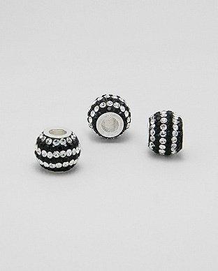 Zilveren glaskristal bead - deco zebra