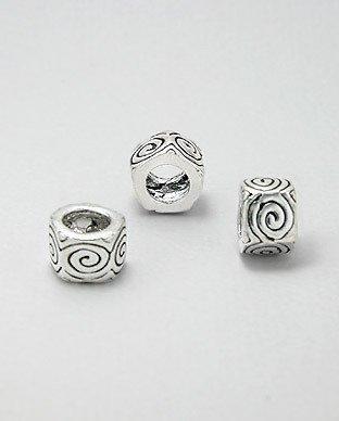 Zilveren bead - zeskant bewerkt