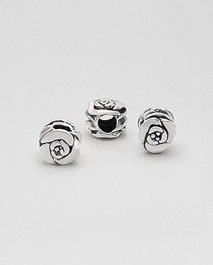 Zilveren bead - dobbelsteen