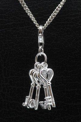 Zilveren Sleutelbos Love hanger en/of bedel