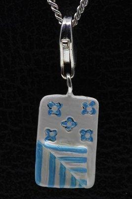 Zilveren Slaapzak blauw wit hanger en/of bedel