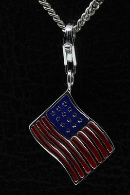 Zilveren Amerikaanse vlag USA Stars and stripes hanger en/of bedel