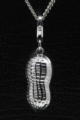 Zilveren Pinda met klankbal hanger en/of bedel