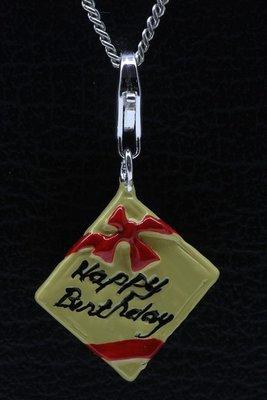 Zilveren Verjaardagscadeau Happy Birthday hanger en/of bedel