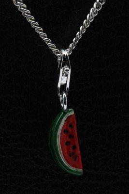 Zilveren Watermeloen schijf klein hanger en/of bedel