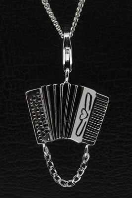 Zilveren Accordeon groot hanger en/of bedel