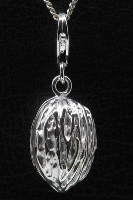 Zilveren Walnoot groot te openen hanger en/of bedel