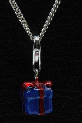 Zilveren Cadeau blauw hanger en/of bedel