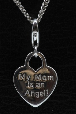 Zilveren Hartje My Mom is an Angel hanger en/of bedel