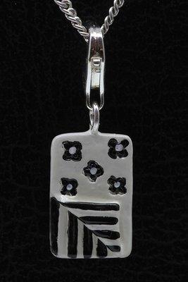 Zilveren Slaapzak zwart/wit hanger en/of bedel