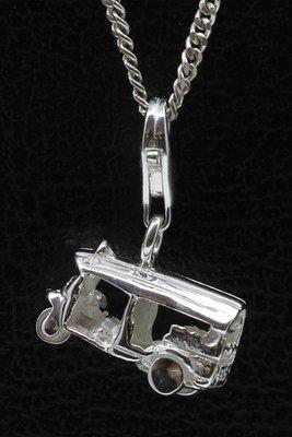 Zilveren Tuk Tuk driewieler hanger en/of bedel