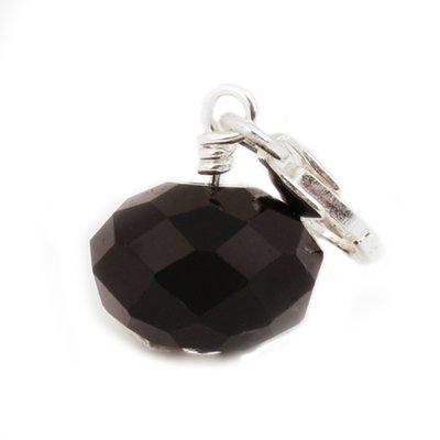 Zilveren Bal zwart kristalgeslepen hanger en/of bedel