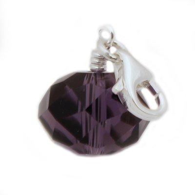 Zilveren Bal paars kristalgeslepen hanger en/of bedel